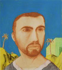 Ettore Tripodi, Autoritratto, 2013, tempera e foglia d'oro su carta, 30x33 cm Courtesy Museo d'Arte Contemporanea, Lissone (MB)