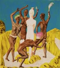 Ettore Tripodi, Donna bianca, 2013, tempera e foglia d'oro su carta, 30x33 cm Courtesy Studio d'Arte Cannaviello