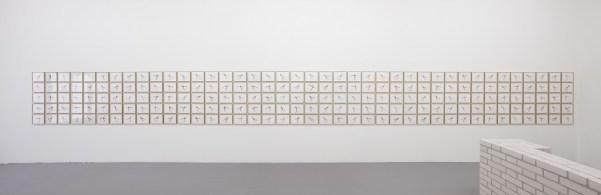 Monica Bonvicini, Needleknows, 2012, 200 ricami su carta, 23x29.5x2.5 cm ciascuno, dimensioni variabili Courtesy Galleria Massimo Minini, Brescia