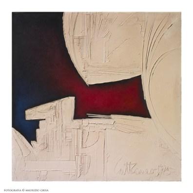 Piero Cattaneo, Segnificato blu e rosso, 1975, pastiglia e acrilico su pressato, cm 85.5x85.5 Foto Maurizio Grisa