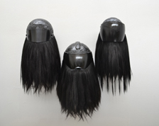 Rowan Corkill - Night Rider motorcycle helmet, human & syntetic hair, beeswax, black metal flake spary paint, unique piece - Contemporary Reload