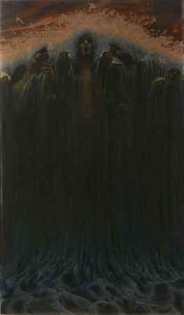 Carlos Schwabe, L'Onda / La Vague, 1907, olio su tela, 196x116 cm, Musée d'art et d'histoire, Ginevra Cat. 36
