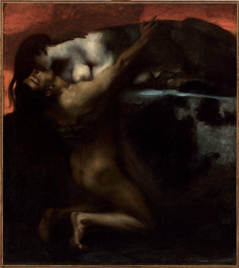 Franz von Stuck, Il bacio della Sfinge / Kuss der Sphinx, 1895, olio su tela, 160x144.8 cm, Szépmüvészeti Múzeum, Budapest Cat. 205