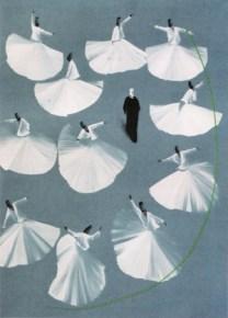 Aldo Mondino, Dervisci, 1993, olio su linoleum, cm 190x140