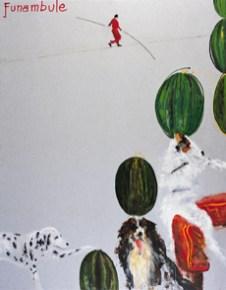 Aldo Mondino, Funambole, 2003, olio su linoleum, cm 240x190