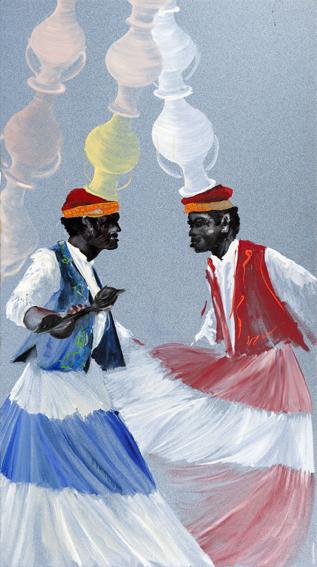 Aldo Mondino, La danse des jarres, 1997, olio su linoleum, 250x140 cm