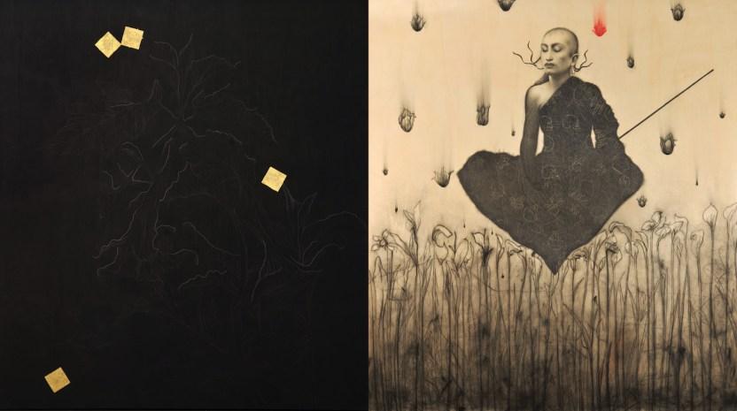 Omar Galliani, Mantra Buddha, matita su tavola, pastello e oro, cm 200x400