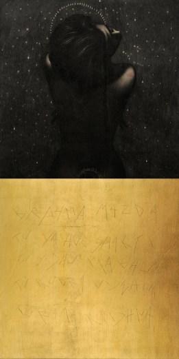 Omar Galliani, Nuovi Mantra per Mosca, matita e oro su tavola, cm 200x100