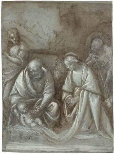 Bernardino Lanino, Adorazione del bambino, penna, inchiostro scuro, matita nera e acquerello con rialzi in biacca su carta grigia, cm 39.9x29.5 Courtesy Salamon&C, Milano