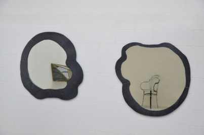 Andrea Salvetti, SPECCHI TRONCHI, 2012/2013, fusione di alluminio nero, cm 100x100 ca