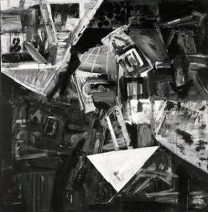 Emilio Vedova, De America '76 - 1, 1976, idropittura, carboncino e carta su tela, 200x196 cm