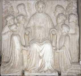Ambito veneto, Il doge Michele Steno (1400-13) e i provveditori alla sanità dinnanzi alla Vergine in trono, prima metà del XV secolo, marmo, 134.5x140x25 cm, Museo Correr