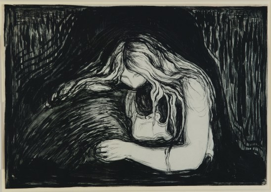 Edvard Munch, Vampire II, 1895, pietra litografica, inchiostro e raschietto, stampata da Clot, Parigi, 38.7x56 cm, Ars Longa, Collezione Vita Brevis © The Munch Museum / The Munch-Ellingsen Group by SIAE 2013