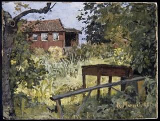 Edvard Munch, Giardino con casa rossa, 1882, olio su cartone, 23x30.50 cm, Collezione privata © The Munch Museum / The Munch-Ellingsen Group by SIAE 2013
