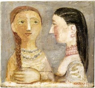 Massimo Campigli, Donne con la collana, 1952, olio su tela, 32x35 cm Courtesy Galleria Tega, Milano