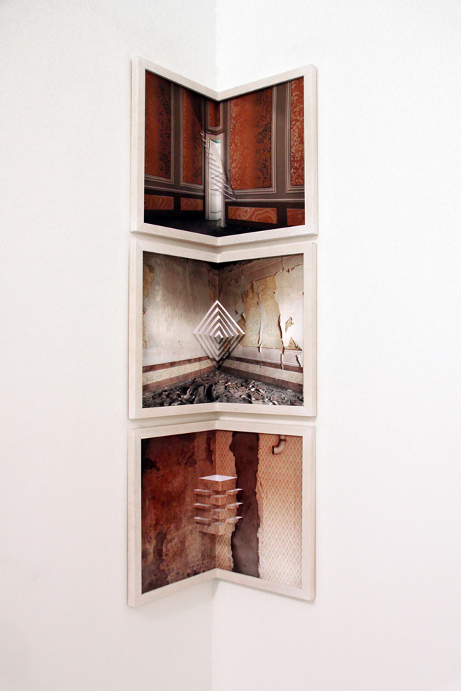 Silvia Camporesi, Apice, 2013, installation view, Giclée print and kirigami intervention, 8 photograpies cm 24x36, rebinding, Courtesy: the artist and the gallery