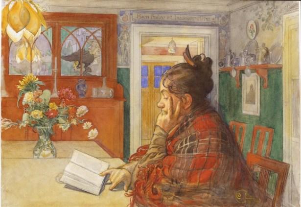 Carl Larsson, Karin che legge, 1904, acquarello Mora, S. Zornmuseet