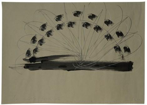 Luciano Fabro, La molla della vita, 1992, acrilico, matita colorata e grafite su carta, 49.5x69.5 cm, Collezione privata Foto: Annalisa Guidetti e Giovanni Ricci, Milano