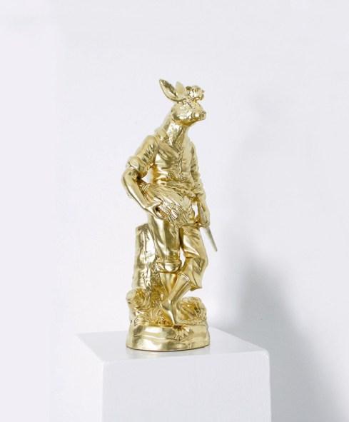 Arnold Mario Dall'O, Santo anch'io, 2008, fusione in bronzo galvanizzato in oro puro, 33.5x21x24 cm