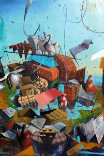Luca Moscariello, Deriva, 2014, tecnica mista su tavola, 150x100 cm Courtesy Galleria Bonioni Arte, Reggio Emilia