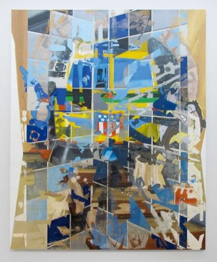 P. Timoney, Meepmeep Popup 2011, olio, acrilico e rilevatore fotografico su tela, 211x260 cm, courtesy l'artista, Andrew Kreps Gallery, New York e Galleria Raucci/ Santamaria, Napoli