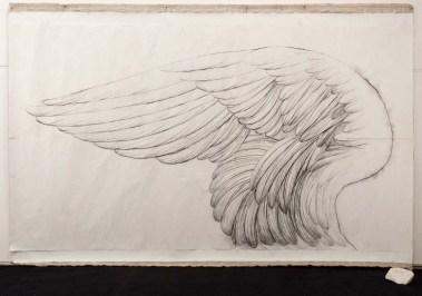 Omar Galliani, Inremeabilis error, 1980, matita su carta giapponese, marmo, 225x341 cm