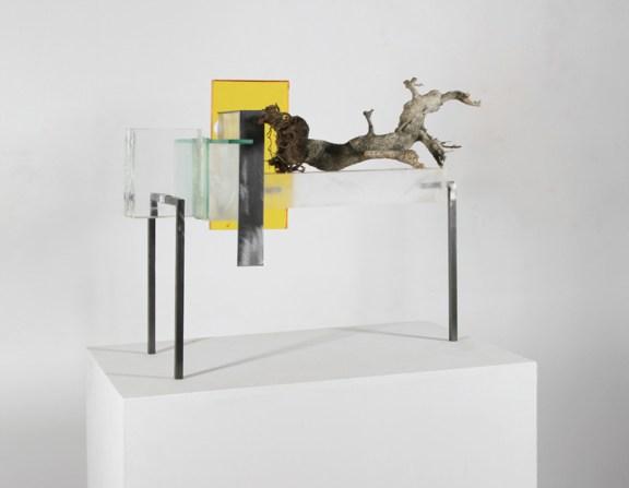 Maiorano, Architettura dell'animo #7, 2013, plexiglas, ferro pigmenti e legno, cm 52x28x45
