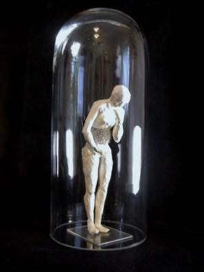 Isabel Consigliere, Per la Sopravvivenza n° 4, carta, nastro carta, colla, pappi di tarassaco, campana di vetro cm 16x35