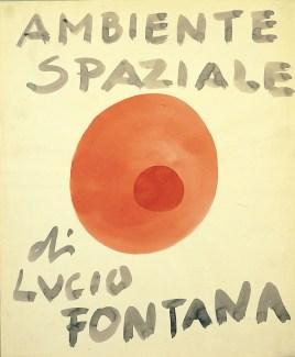 Lucio Fontana, Ambiente spaziale, 1949, china rossa e blu su carta, 46.5x37.5 cm