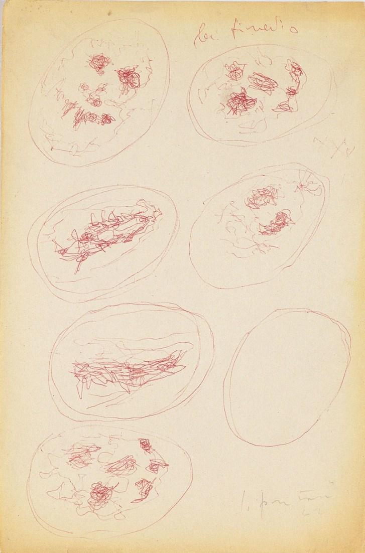 Lucio Fontana, Studi per Concetto spaziale. La fine di Dio, 1960-61, penna a sfera su carta, 33x22 cm