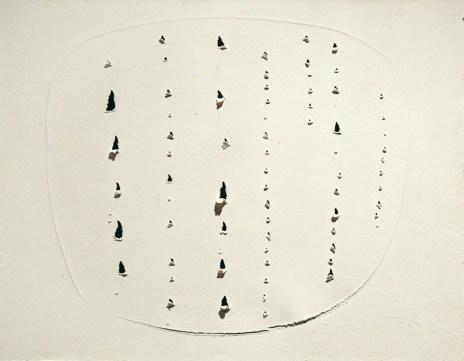 Lucio Fontana, Concetto spaziale, 1964-1965, strappi e graffiti su carta assorbente bianca (successivamente applicata sumasonite), 45.5x58.5 cm