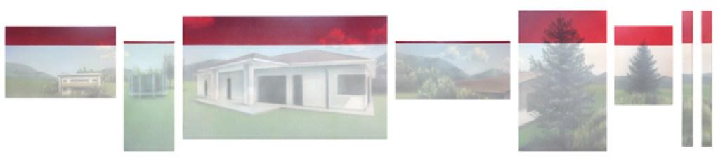 L'orMa, Red horizon, colori ad olio e acrilici su tela, 76x370cm