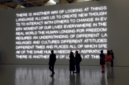 Maurizio Nannucci (2012), There is another way of looking at things, installation view Musée d'Art Moderne de Saint-Etienne Métropole. Courtesy the artist