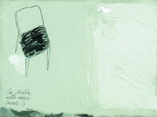 Alfredo Casali, La sedia nella neve, 2013, olio su tela