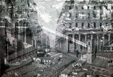 """Davide Bramante, """"My own rave"""" Vigevano/Milano (grande piazza), 2014, foto in b/n realizzata con la tecnica delle esposizioni multiple, montaggio su plexiglas, dimensioni variabili Courtesy Galleria Poggiali e Forconi, Firenze"""