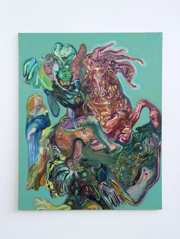 "Paola Angelini, ""Drawing of St. George"", 2014, olio su tela su tela, 210x170 cm Courtesy Galleria Massimodeluca, Mestre"