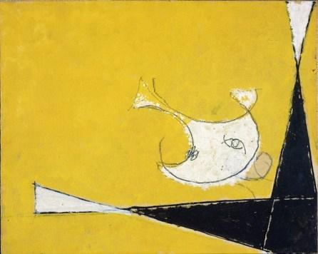 Osvaldo Licini, Amalassunta su fondo giallo, 1954, olio su carta intelata, 22.3x28.3 cm, Collezione privata, Milano Foto Archivio Lorenzelli Arte, Milano