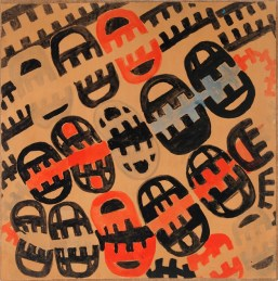 Giuseppe Capogrossi, Superficie G 127, mauroflage, 1951, tempera su carta intelata, 88x88 cm