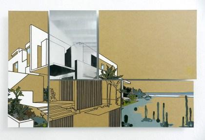 Guido Bagini, Technogreen #4, 2014, enamel on cardboard and zinc polished on dibond, 51x80 cm Courtesy The Flat - Massimo Carasi
