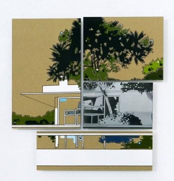 Guido Bagini, Technogreen #6, 2014, enamel on cardboard and zinc polished on dibond, 67x66 cm Courtesy The Flat - Massimo Carasi