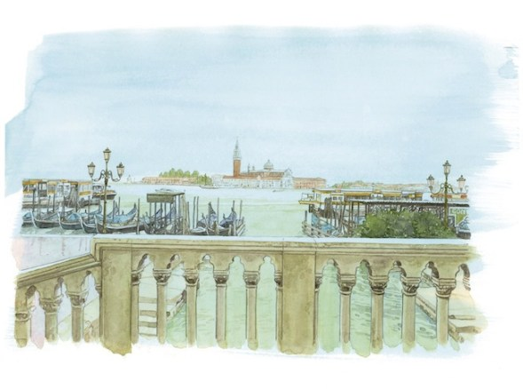 Sguardi incrociati a Venezia, una delle tavole di Jirô Taniguchi, © LOUIS VUITTON MALLETIER / JIRO TANIGUCHI DROITS RESTREINTS LOUIS VUITTON TRAVEL BOOK VENISE 2014
