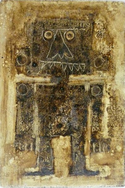 Pino Pascali, Totem, 1963, tecnica mista su tavola, 29x20 cm