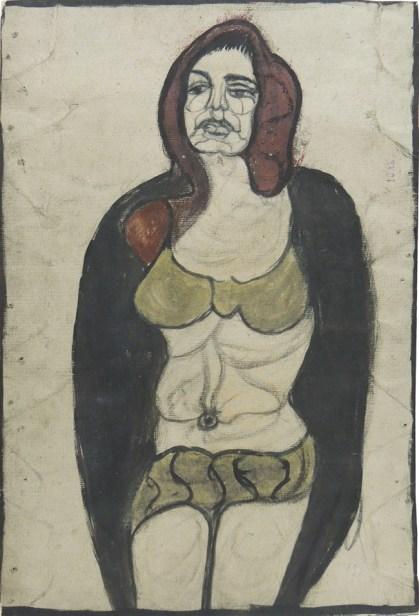 Pietro Ghizzardi, Donna, 1965, tecnica mista su carta, cm 78,5x53