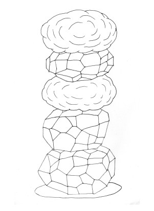 Andreco, Unstable Column, Ink on Paper, 2014, Courtesy Traffic Gallery