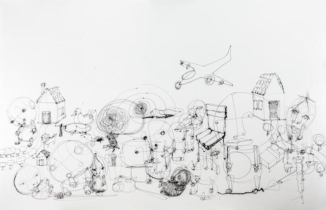 Danilo Bucchi, TWO HOUSES_2014_enamel on canvas_130x200_courtesy Galleria Poggiali e Forconi.