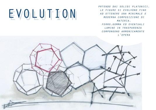Luca Raimondi, Evolution, progetto per scultura in ferro, gomma e lamine (Porta Torre)