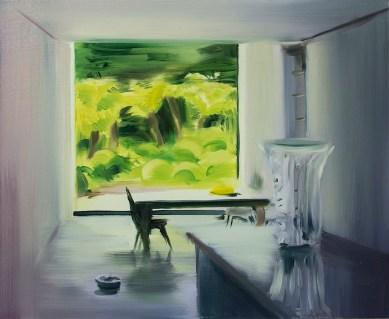 Caroline Walker, Aperture, 2014, oil on board, 45x55 cm Courtesy ProjectB, Milano