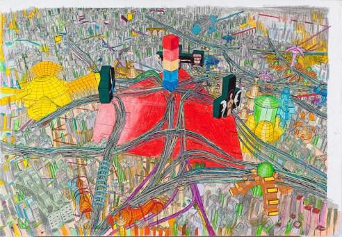 Marco Bolognesi, propaganda Sendai- the matrix no. 0, photocollage u2013 oil pastel, cm 104x150, 2014