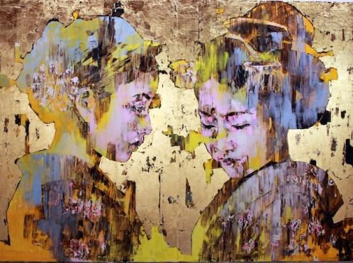 Marco Grassi, Kyoto, 2014, olio e foglia oro su tavola, cm 168,5x228,4