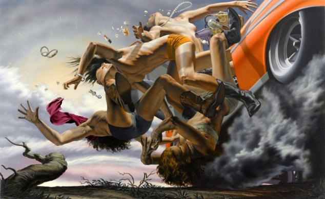 Nicola Verlato,Road to nowhere, 2012, olio su tela, 150x240cm
